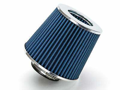 "BLUE 3.5"" 89mm Inlet Cold Air Intake Cone Replacement Quality Dry Air Filter"