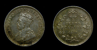 Canada 1919 Silver 5 Five Cents King George V Toned EF-45