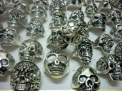 lots mixed 30pcs skull style Gothic tribal sports men's vintage silver big rings