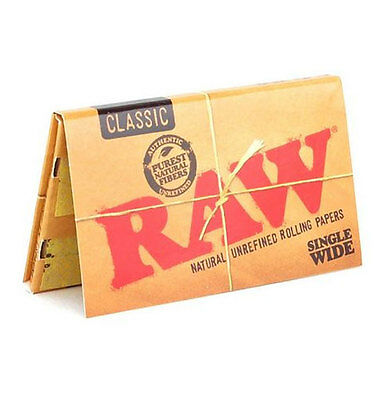 Raw Classic Single Wide Double Natural Rolling Paper Smoking Tobacco 100 Leaves