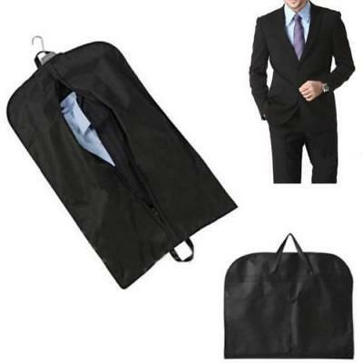 Black Coat Clothes Garment Suit Cover Zipper Bags Dustproof Hanger Storage LG