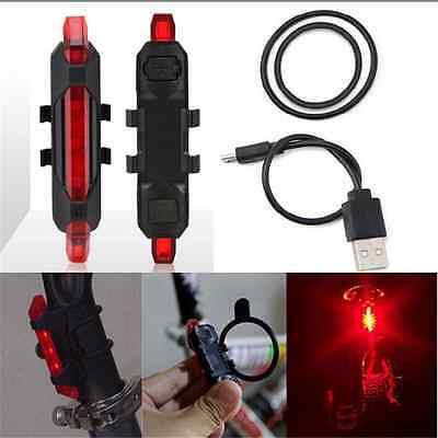 USB Rechargeable 5 LED Bike Bicycle Cycling Tail Rear Safety Warning Light Lamp