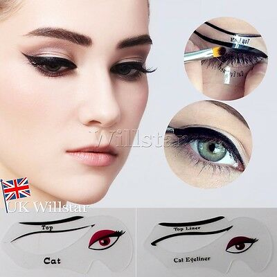 Perfect Cat Eyeliner Stencil Models Template Shaper Bottom Liner Eye Makeup Tool