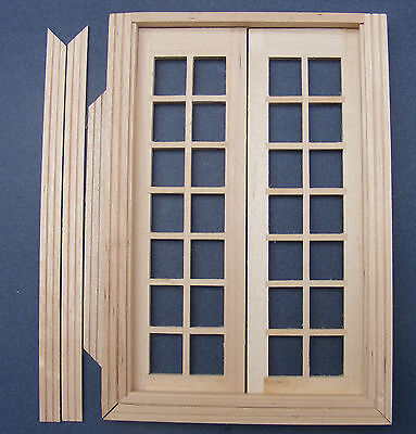 1:12 Dolls House Miniature Glazed Double French Wood Doors & Frame DIY Accessory