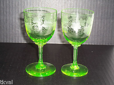 (2) ANTIQUE Amazing ETCHED GREEN VASELINE WINE GLASSES / CORDIALS Hand Made