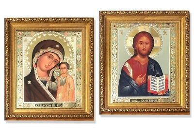Discounted Wedding Pair Virgin Of Kazan and Christ The Teacher Russian Icon WOW