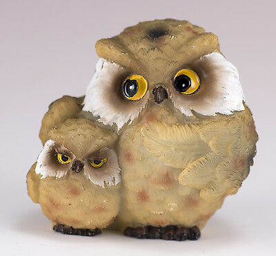 "Small Brown Owl With Baby Figurine 2"" High Resin New!"