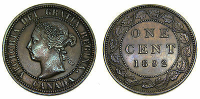 Canada 1892 Large 1 One Cent Queen Victoria About Uncirculated 55