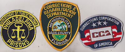 Philadelphia, Dade County & CCA Corrections patches