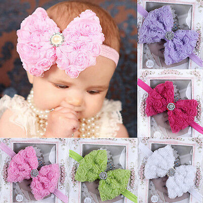 Kids Girl Baby Rose Flower Bow Headband Lace Bow Flower Hair Band Accessories