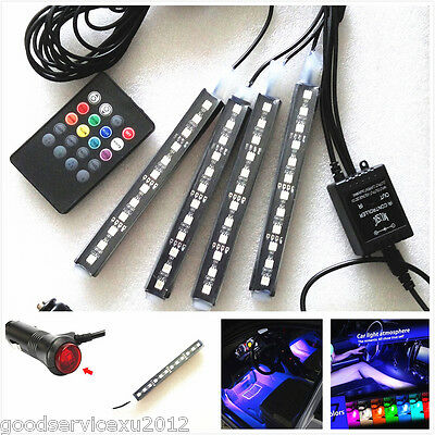 4 Pcs Multi-Color RGB 12LED Vehicles Charger Atmosphere Lights & Wireless Remote