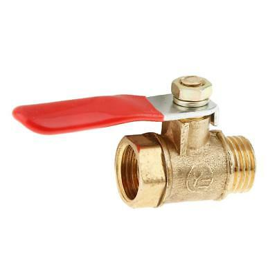 1/4 Male to Female Thread Brass Ball Valve Full Port 12mm-Red Lever Handle