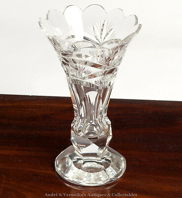 """WATERFORD CRYSTAL 8"""" VASE - Wheel Cut Excl. Cond. Vintage High Lead Glass Irish"""