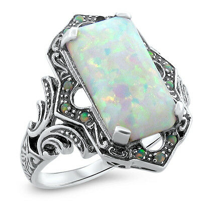 White Lab Opal Antique Victorian Design 925 Sterling Silver Ring Size 10,#618