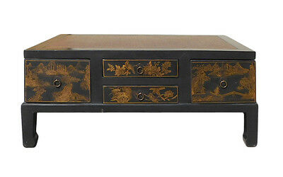 Chinese FuJian Style Golden Graphic Swing Drawer Coffee Table cs1307