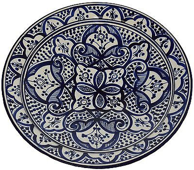 Moroccan Ceramic Plate Handmade Pasta Bowl Serving Wall Hanging 14inches X-large