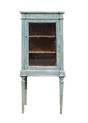 Oriental Shabby Chic Blue Tall Glass Cabinet cs1328