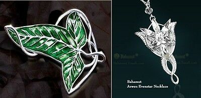 2x Set LOTR Lord Of The Rings Elven Leaf Brooch Wizard Crystal Pendant Necklace