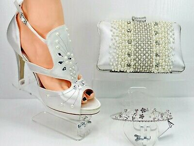 Ivory Satin Bridal Shoes Matching and Bag Pearl and Crystal Diamante with Tiara