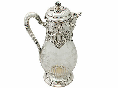 French Acid Etched Glass and Sterling Silver Mounted Claret Jug - Antique 1909