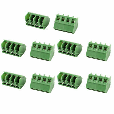 10 Pieces 4 Pin 5mm Pitch 300V 10A PCB Mount Type Terminal Block Green