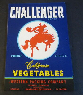 Wholesale Lot of 100 Old - CHALLENGER - Vegetable Crate LABELS - WESTERN Cowboy