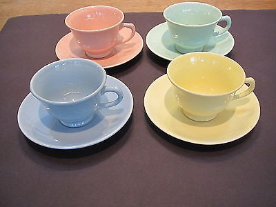 Vintage TS&T LuRay Pastels 4 different colors cup & saucer sets-excond
