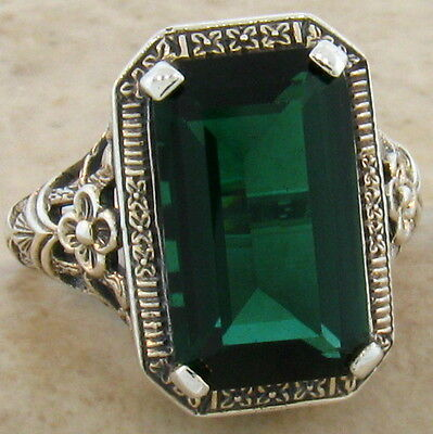 6 Ct. Sim Emerald Antique Design .925 Sterling Silver Ring Size 10,   #533