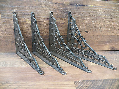 "Lot/Set 4 EASTLAKE Antique-Style Cast Iron 6"" x 7"" SHELF BRACKETS Hangers Braces"