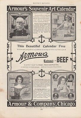 1899 Armour & Co Chicago IL Ad: 1900 Souvenir Art Calendar American US Navy
