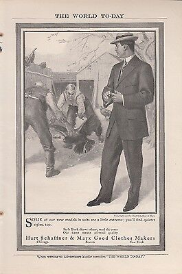 1907 Hart Schaffner & Marx Good Clothes Makers Ad: Two Men Chasing a Turkey