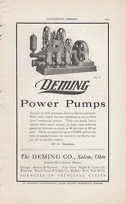 1918 The Deming Company Salem OH Ohio Ad: Power Pumps Require Little Attention
