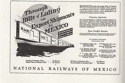 1931 National Railways of Mexico Ad: Through Bills of Lading on Export Shipments