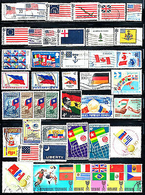 FLAGS Topical Stamps Assorted Lot of 43