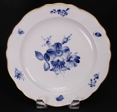 "Meissen Blue White Floral Porcelain 8 1/2"" Wide Salad or Dessert Plate - C"