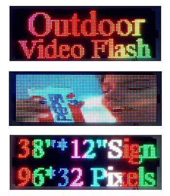 """Outdoor Video Full Color 38""""x12"""" LED Sign Programmable Scrolling Message Display"""