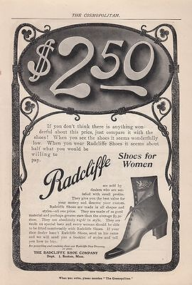 1903 Radcliffe Shoe Co Boston MA Ad: Shoes for Women $2.50 Comfortable Fit