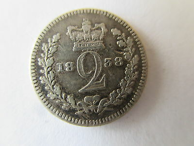Queen Victoria Young  Head Silver Maundy Twopence  Dated 1838