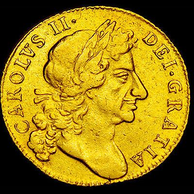 KING CHARLES THE II 1684 GOLD GUINEA  EXTRA FINE  Rare in this Condition
