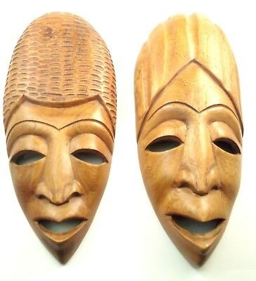 2 Haiti Hand Carved Hard Wood Wooden  Face Mask Wall Hanging Sculpture