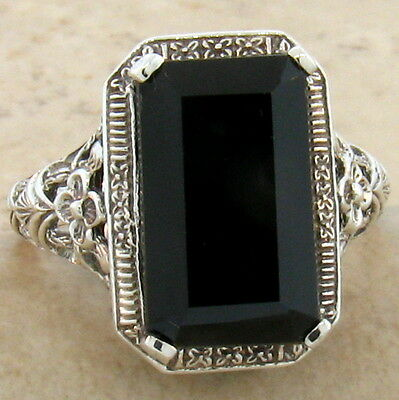 Genuine Black Agate 925 Sterling Antique Design Silver Ring Size 7,         #762