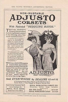 1911 Royal Worcester Corset Co Worcester MA Ad: Non-Rustable Adjusto Corsets