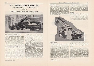 1929 N.P. Nelson Iron Works Passaic NJ Ad: Nelson Snow Loaders & Bucket Loaders