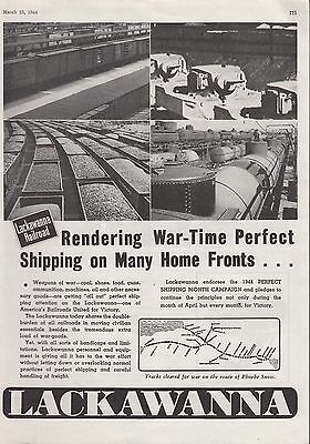 1944 DL&W Lackawanna Railroad Ad: War-Time Perfect Shipping on Many Home Fronts