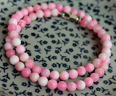 "Beautiful 6MM Natural Pink Jade Chalcedony Round Gemstone Necklace 18""AAAAA"