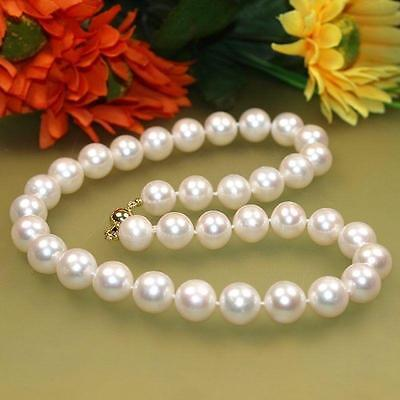 "NEW 14k solid gold 9-10mm White Freshwater Cultured Pearl Necklace 18""AAA"