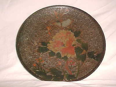 Signed Meiji-Period Japanese Tree Bark Jiki Totai Shippo Cloisonne Plate 11 7/8""