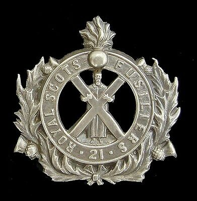 Victorian 21St Royal Scots Fusiliers Badge Solid Silver