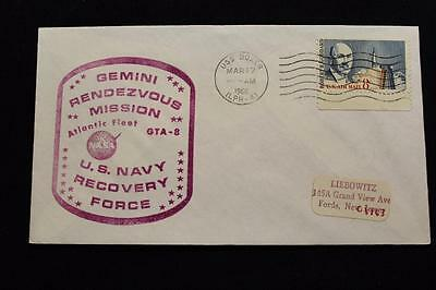 Naval Space Cover 1966 Gemini Gta-8 Recovery Ship Uss Boxer (Lph-4) (1216)