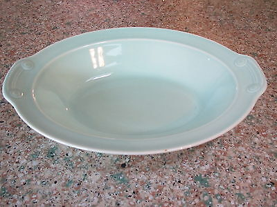 """Vintage TS&T LuRay Pastels 10 1""""/4  D surf green oval w tabs rimmed veg. bowl"""